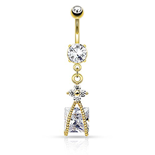 Yellow Goldtone Belly Button Ring Dangle Square Solitaire (Square Ring Navel Yellow)