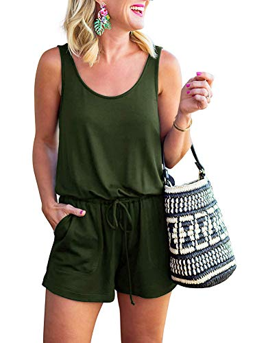 Essential Scoop Neck Short - CLACIRE Womens Summer Scoop Neck Tank Top Rompers Casual Loose Sleeveless One Piece Short Jumpsuit Playsuit with Pockets Army Green X-Large