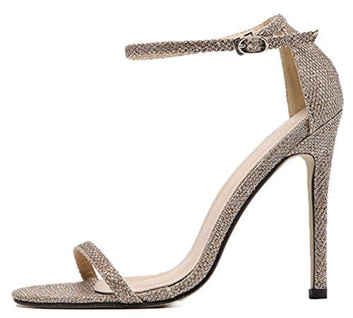 Women Stiletto Sandals Dressy IDIFU High Strap Shoes Toe Open Gold Heels Ankle With xXwdFABwq