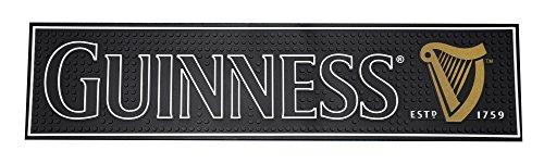 - Guinness Gaelic Label Bar Mat - Non Slip Black PVC Rubber Drip Tray (Black)