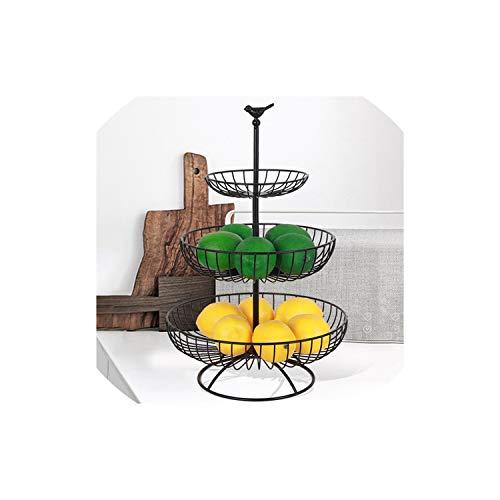 Fruit Plate Countertop Metal Fruit Basket Black Vintage Style Tray Stand Home Storage Basket,Red