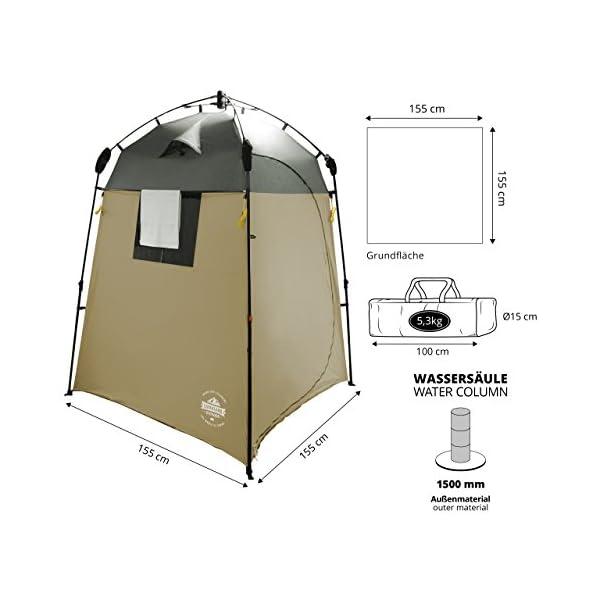 41csPVKcShL Lumaland Outdoor Where Tomorrow Pop Up Duschzelt Umkleidezelt Toilettenzelt Stehzelt Camping 155x155x220 cm robust