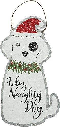 Primitives by Kathy Tin Hang Up Feliz Naughty Dog Home and Garden Decor