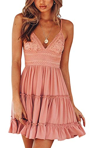 ECOWISH Womens V-Neck Spaghetti Strap Bowknot Backless Sleeveless Lace Mini Swing Skater Dress Pink-1 S