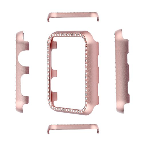 Aluminum Metal Watch Case Crystal Diamonds Plate Protective Cover Ultra Thin Bumper Watch Series 1/2/3(Best 3D Bling Gift Your iWatch (Rose Bling, 38 mm) by SD Trading (Image #6)