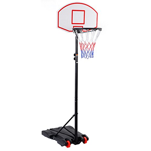 Wheels Portable Adjustable Height Basketball Hoop Stand Backboard Whole System
