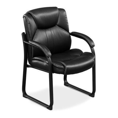 (Officient Omega Collection Oversized Guest Chair in Black Faux Leather with Black Frame)