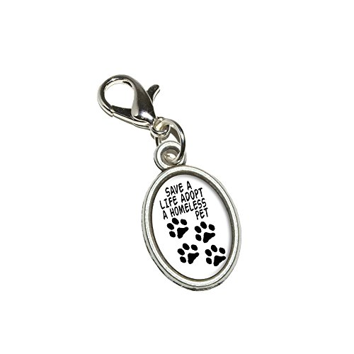 ve a Life Adopt a Homeless Pet - Dog Cat Adoption Antiqued Bracelet Pendant Zipper Pull Oval Charm with Lobster Clasp ()