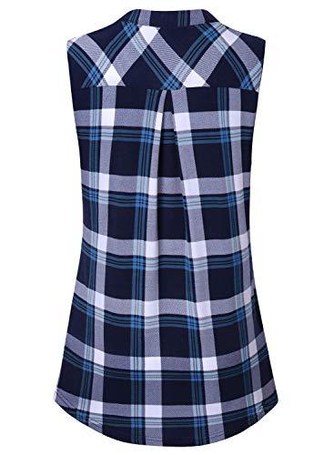 Amrto Damen V-Ausschnitt Shirts Casual Bluse mit Reißverschluss Tunika Tops