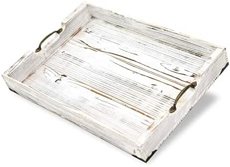 Boxwood Brothers Large 20 x 14 Inch Ottoman Tray, Distressed White Farmhouse, Solid Pine Serving Tray with Padded Feet and Bronze Handles