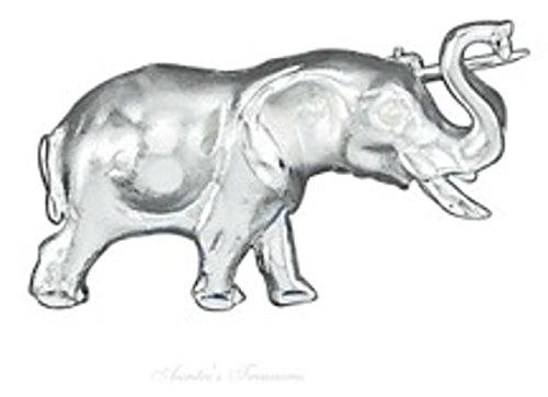 Sterling Silver Trumpeting Elephant Brooch ()
