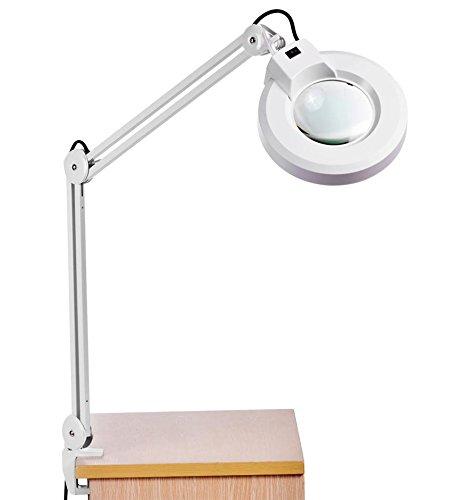 8X Desk Table Clamp Mount Rolling Adjustable Magnifier Lamp Light Magnifying Glass Len 110V US Plug