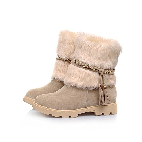 Susanny Boots Beige Booties Flat Short Fur Waterproof Women's Fashion Warm Outdoor Faux Suede Snow SwrSfaq