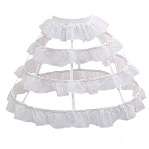 FunStation Women's 3 Hoops Skirt Pannier Petticoat Crinoline Underskirt Bustle Cage (3 Hoops Chiffon -