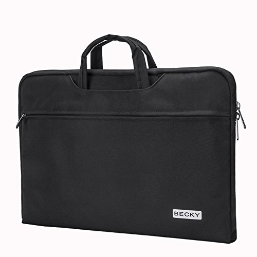 Laptop Sleeve Bag, Becky 15.6 Inch Laptop Case Slim Water Resistant Handbag, Briefcase Protective Carrying Cover Accessory Bag for Lenovo Dell Toshiba HP ASUS Acer Chromebook, Black