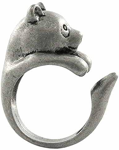 Enhanced Panda Bear Adjustable Animal Wrap Ring Vintage Silver Tone