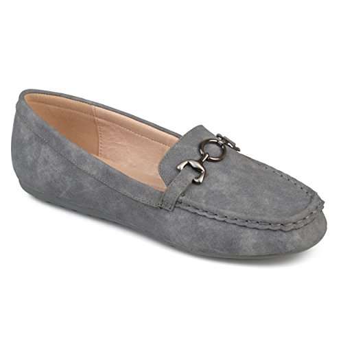 Journee Collection Womens Square Toe Comfort-Sole Chain Driving Loafers Grey aZTd31Ca