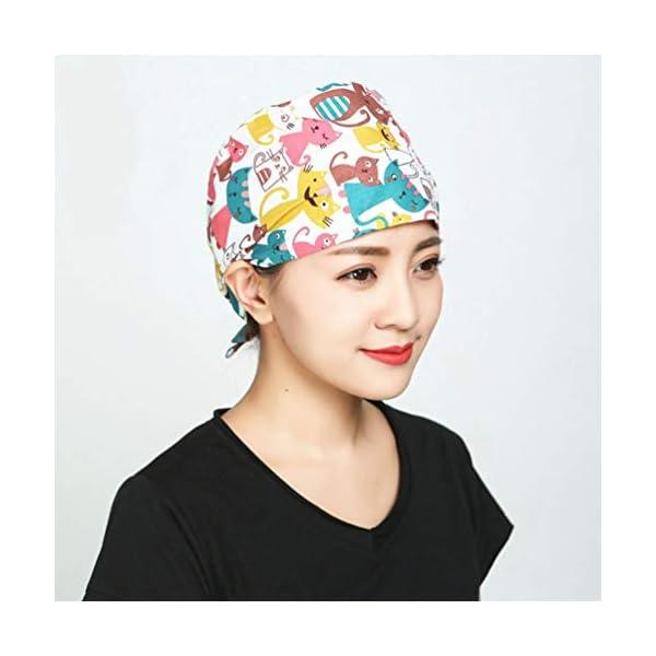2 piezas Gorra de trabajo absorbente de sudor Algodón puro Sombrero de belleza para hombres mujeres absorción transpirabilidad suave y absorción de sudor Sombrero de belleza 6