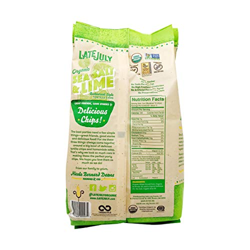 LATE JULY Snacks Restaurant Style Sea Salt & Lime Tortilla Chips, 11 oz. Bag