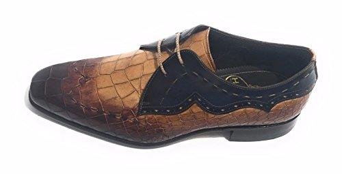 HARRIS - Zapatos de cordones de Piel para hombre COCCO / CROSTA DI PANE / BLU 39