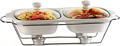 """Circleware Ceramic Chafer Double Buffet Server/warmer/baker Serving Tray with Glass Lid and Chrome Metal Serving Stand, 1 Quart Each,16""""w x 9.75""""D x 5""""H , Serveware Cookware Bakeware"""