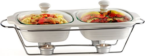 "Circleware Ceramic Chafer Double Buffet Server/warmer/baker Serving Tray with Glass Lid and Chrome Metal Serving Stand, 1 Quart Each,16""w x 9.75""D x 5""H , Serveware Cookware Bakeware"