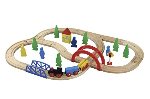 Maxim Enterprise Wooden Train Set - Thomas & Friends/BRIO Compatible (40-Piece) (Starter Thomas Train Set)