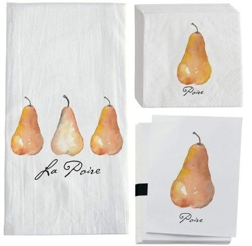 Rustic Pearl Collection PEAR Gifts: Create Your OWN Pear Themed Gift Basket! Cocktail Napkins, Notecards, and Hostess Towel Included