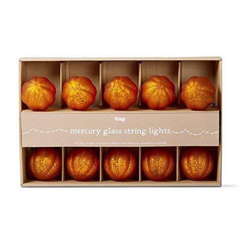 Tag Mercury Hand Blown Glass Pumpkin LED String Lights 10 Halloween Jack O Lanterns 8 Foot Long]()