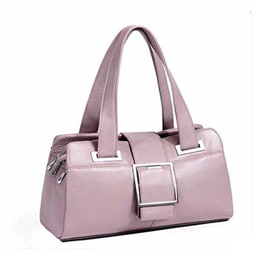 à Cuir Grand Féminine Fourre Pink Bandoulière Sac à Véritable Satchel Sac Top Casual Poignée tout Main Mode En Lady Crossbody tPBpqwqx