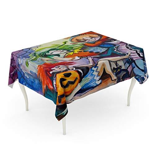 Tarolo Rectangle Tablecloth 52 x 70 Inch Watercolor Girls Children Celebrate Halloween Pumpkin Teenage Holiday Masquerade Activity Table Cloth -