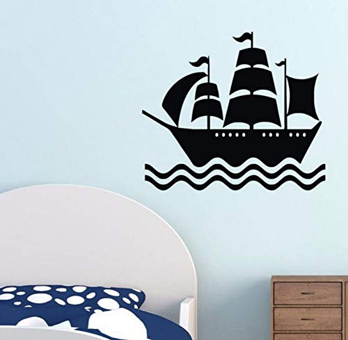 LSFHB Pirate Ship Wall Stickers Kids Bedroom Wall Decor Vinyl Art Wall Decals Removable Sticker for Nursery 59X68Cm A ()