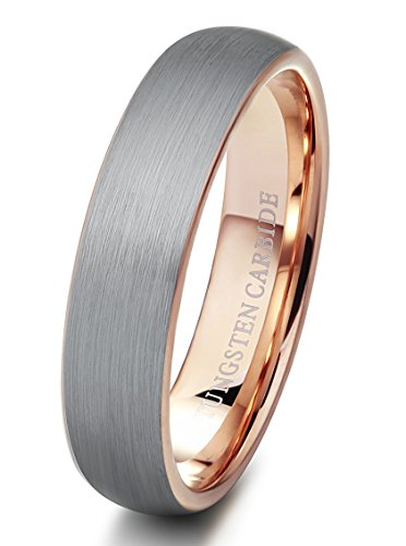 Tungary 6mm Mens Womens Tungsten Rings Wedding Engagement Band Promise Brushed Rose-Gold Size 4-14