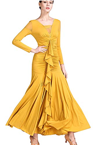 Latin Senior Yellow Dress Skirts Ballroom Waltz Dress Dance CHAGME Dress Tango Skirts 7wx6ggd