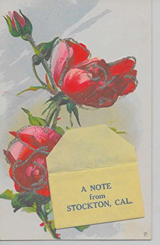 (Stockton California A Note From envelope roses glittered antique pc Z19938)