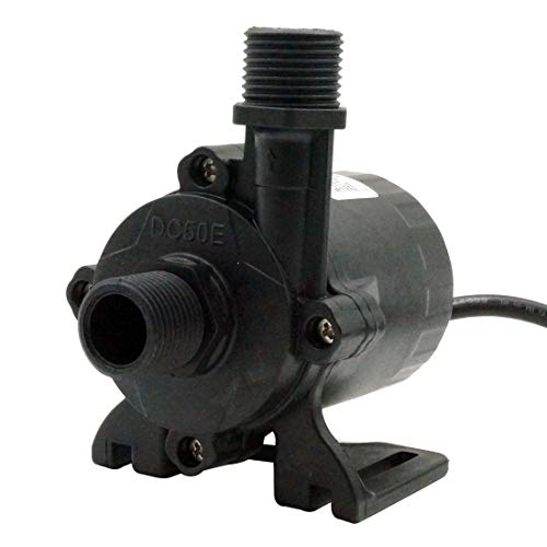 Npt Outlet (24V DC Water Pump 400GPH Inlet&Outlet 3/4 Inches 20mm NPT 60 Threads Static Head 49ft Power Regulation Brushless Submersible Pump Aquarium Garden Fountain Pump for Solar Panel DC50E-24150A)