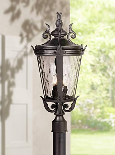 - Casa Marseille Traditional Outdoor Post Light Textured Black Scroll 25