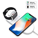 Apple Watch Charger, iPhone Wireless Charger Replacement, Ultra-Thin 2 in 1 Qi Charging Pad Stand Compatible with Apple Watch Series 1/2/3/4 iPhone X iPhone 8/8Plus for Samsung Galaxy Note