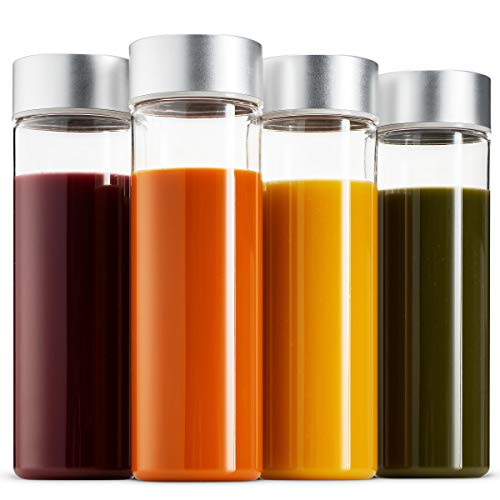 Komax Juice Bottles 18.5-oz, Set of 4 | Shatterproof Juicing Bottles For Smoothies, Milk & Water | BPA-Free Tritan Plastic Juice Bottles | Freezer & Dishwasher Safe | Wide Mouth Lid & Inner Cap