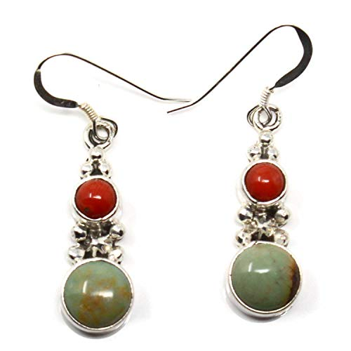 Navajo Green Colored Turquoise & Coral Drop Dangles | 1