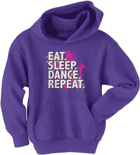 Threadrock Big Girls' Eat Sleep Dance Repeat Youth Hoodie Sweatshirt L Purple -