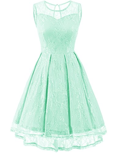 Gardenwed Women's Retro Floral Lace High Low Homecoming Dress Cocktail Party Gown Bridesmaid Dress Mint (Retro Keyhole Dress)