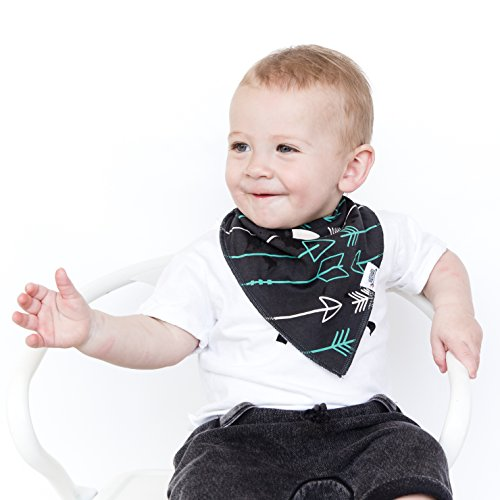 Baby Bandana Bib Set of 4, Super Absorbent Organic Drool & Teething Bibs for Boys & Girls by Matimati (Mint & Gray) by Matimati Baby (Image #2)
