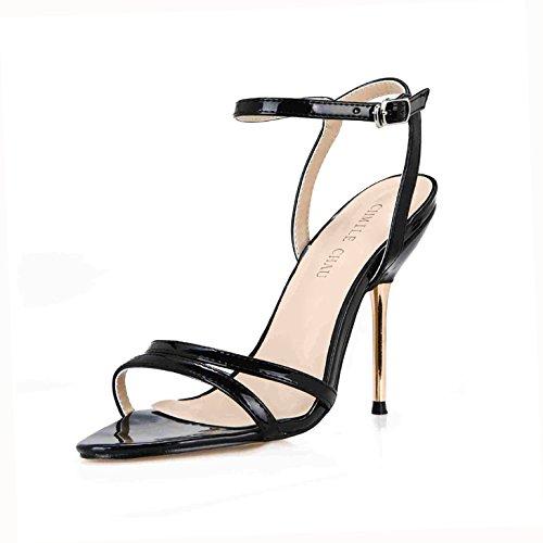 Interesante Que Zapatos Mujer 39 Sexy Piel Banquetes Las Negro con de Minimalista Sandalias y Cinturones ZHZNVX Lattice fueron de Zapatos Mujeres Serpiente de Nuevo Verano Hierro de 0BHBUz8q