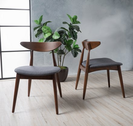 GDF Studio Issaic Charcoal Fabric with Walnut Finish Dining Chairs (Set of 2)