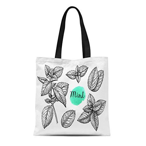 Semtomn Canvas Tote Bag Shoulder Bags Menthol Green Leaf Retro Ink Sketch of Mint White Women's Handle Shoulder Tote Shopper Handbag ()