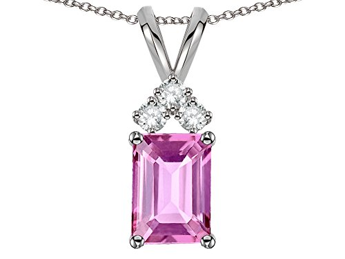 - Star K Classic Emerald Octagon Cut 8x6mm Created Pink Sapphire Rabbit Ear Pendant Necklace 14k White Gold