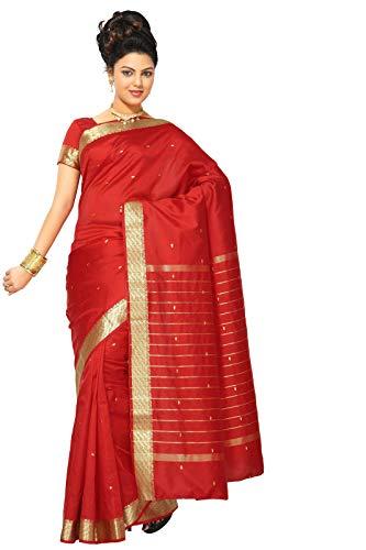 ns Indian Ethnic Traditional Banarasi Art Silk Saree Sari Wrap Fabric Dress Drape (Red) ()