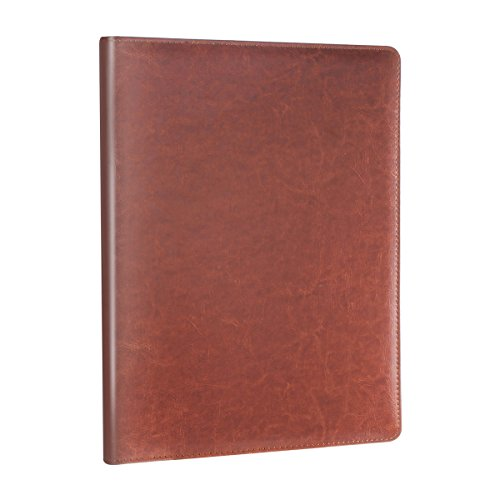 Leather Portfolio Clipboard - Geila Business PU Leather Resume Storage Clipboard Folder Portfolio Padfolio, Interview/Legal Document Organizer & Business Card Holder for Office Conference (Brown)