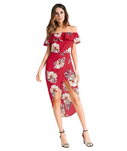 Plage Femmes Dos Vintage Nu Floral Belle Dames D't Sexy Red Vacances XL Strappy Kitzen Imprimer Robe Soire Longue Ligne Jupe paule White Plage wIS5qPdq